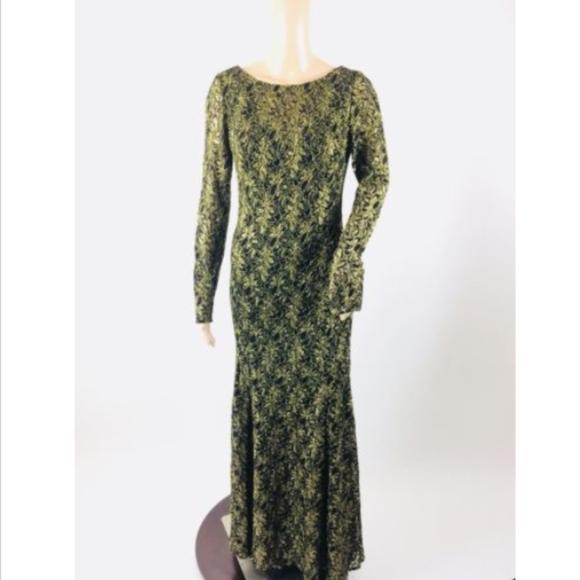Theia Dresses   Dress Black Gold Lace Evening Gown Dress 6   Poshmark